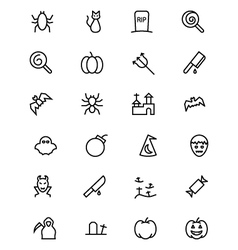 Halloween line icons 3 vector