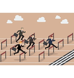 Businessman race hurdle competition vector