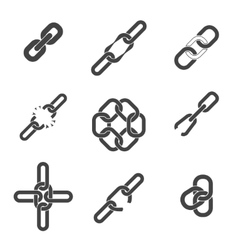 Chain or link icons set vector