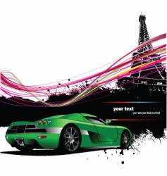 Paris with car vector
