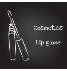 Lip gloss painted with chalk on blackboard vector