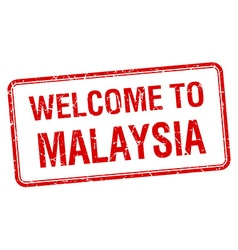 Welcome to malaysia red grunge square stamp vector