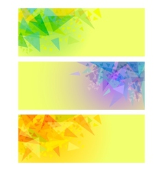abstract yellow banners with triangles vector image vector image