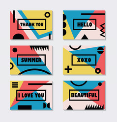 Assorted pink blue and yelllow modern cards vector
