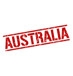 Australia red square stamp vector