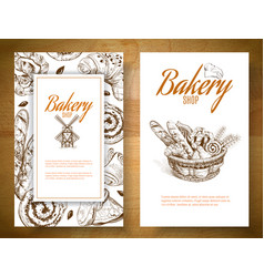 Bakery basket banner vector