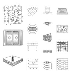 Board game outline icons in set collection for vector
