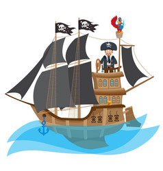 Caricature with the image of a pirate on the ship vector
