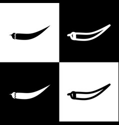 Chilli pepper sign black and white icons vector