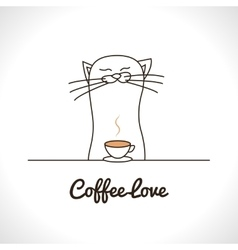Cute cat sniffing coffee cup adorable animal vector