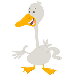Cute goose farm animal character vector
