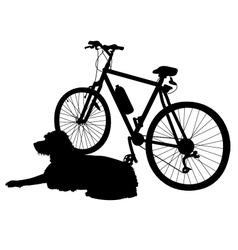 Dog and bike silhouette vector