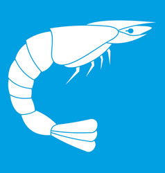Fresh sea shrimp icon white vector