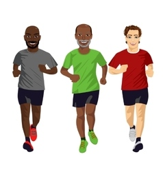 Group of male runners exercising vector image