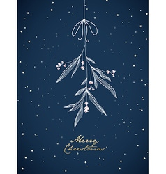 Handwritten christmas with hanging mistletoe night vector
