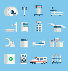 Hospital equipment orthogonal flat icons vector