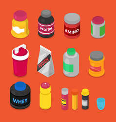 Isometric sports nutririon elements vector