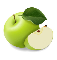 juicy green apple with a slice vector image