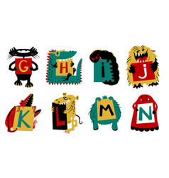 Kids alphabet with cute colorful monsters vector