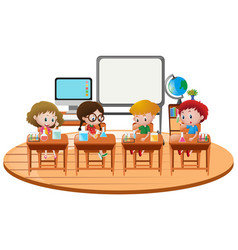 kids doing science experiment in classroom vector image
