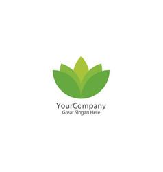 lotus logo icon green natural logo template vector image