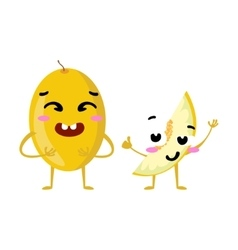 Melon cute fruit character couple isolated vector