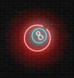 neon billiard bar sign on a brick wall background vector image