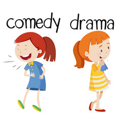Opposite words for comedy and drama vector