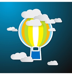 Paper Hot Air Balloon on Sky with Clouds vector image