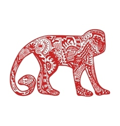 Red monkey in hand-drawn zentangle style vector