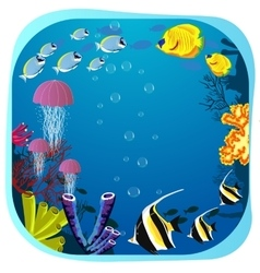 Sea life round frame with fish vector