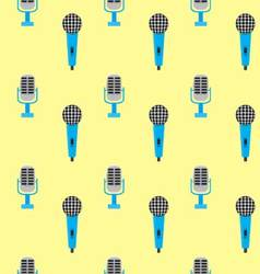 Seamless pattern vintage microphone vector image