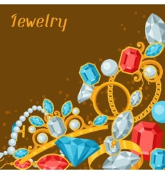 Set of beautiful jewelry and precious stones vector image