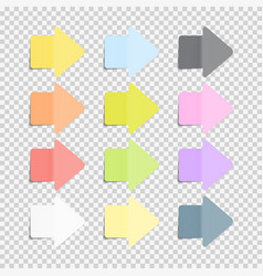 Sticky office paper sheets notes arrow sign pack vector