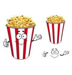 Striped red paper bucket of popcorn cartoon vector image