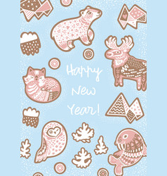 Sweet new year greeting card gingerbread cookies vector