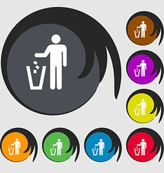 Throw away the trash icon sign symbol on eight vector