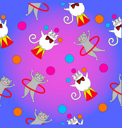 two funny cat act in the circus vector image vector image