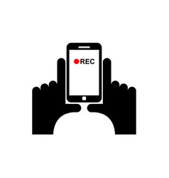 Vertical video sign hand and smartphone record vector