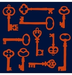 Vintage key silhouettes composition vector