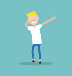 Young character making dab dance flat editable vector