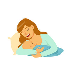 Young happy mother lying in the bed and vector