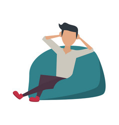 Young man sitting on bean bag vector