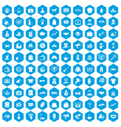 100 charity icons set blue vector