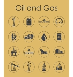 Set of oil and gas simple icons vector