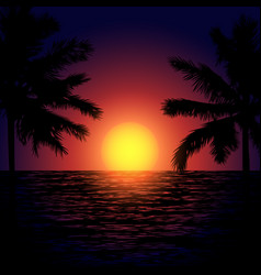 Tropical beach at sunset vector