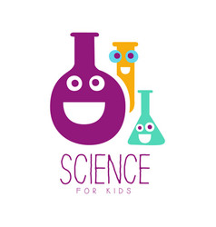 Science for kids logo symbol colorful hand drawn vector