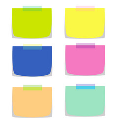 Six note papers in multiple colors vector