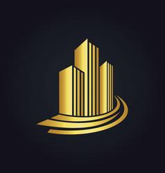 Gold building cityscape logo vector