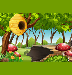 Forest scene with beehive and mushroom vector